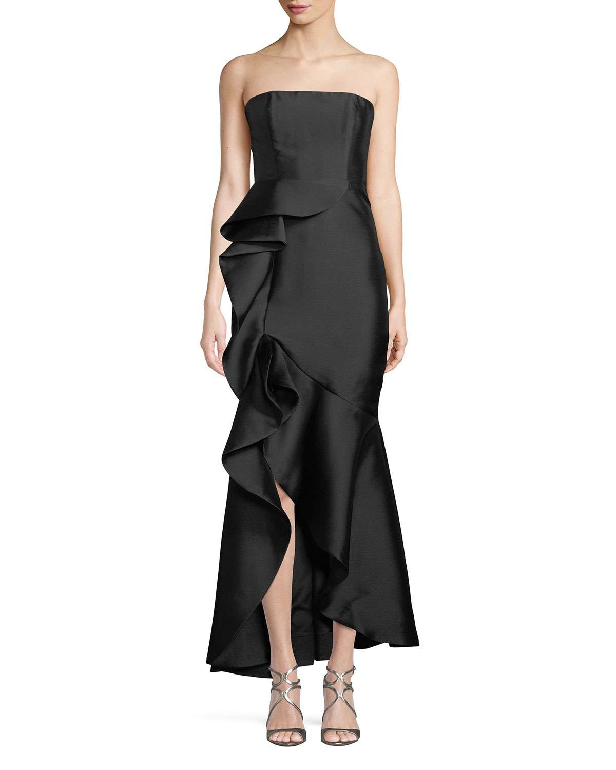 The Seller Twill Strapless Bustier Gown w/ Side Ruffle