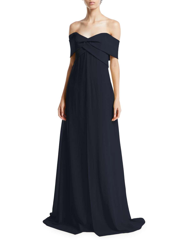 Park Lane Off-the-Shoulder A-Line Taffeta Gown