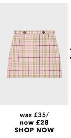 PETITE pink check print skirt