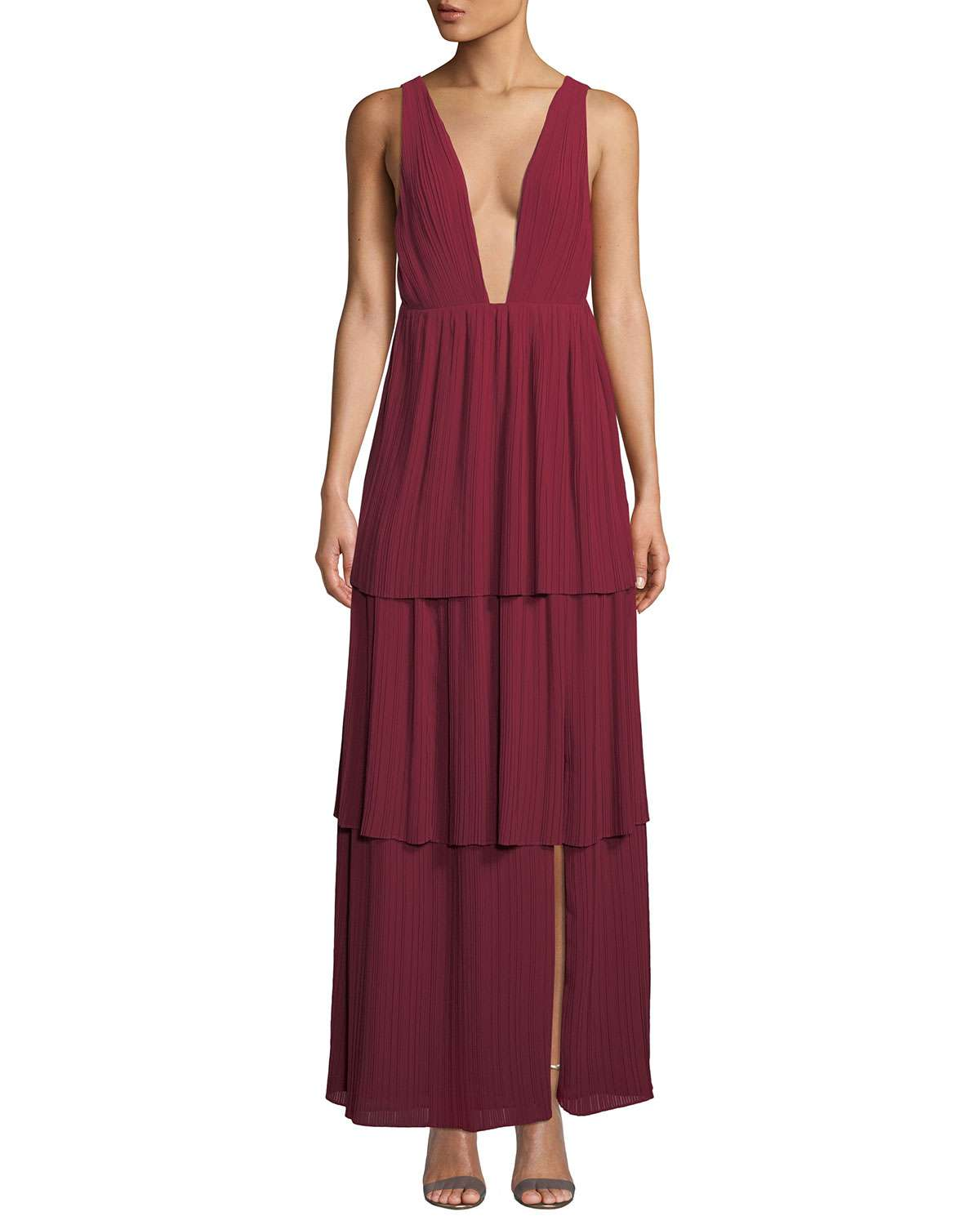 The Callie Plunging-Neck Tiered Gown