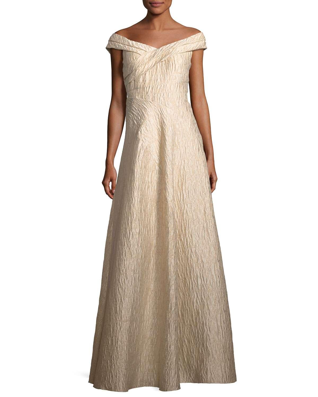 Off-the-Shoulder Jacquard A-Line Gown