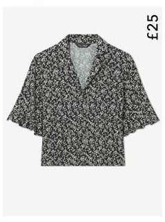 Black Ditsy Print Frill Sleeve Shirt