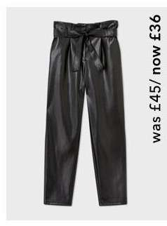 Black PU Paperbag Trousers
