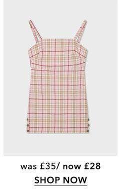 PETITE Pink Check Print Pinafore Dresss