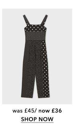 PETITE Black Spot Pinny Jumpsuit
