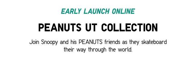 Peanuts UT Collection | Join Snoopy and his PEANUTS friends as they skateboard their way through the world.