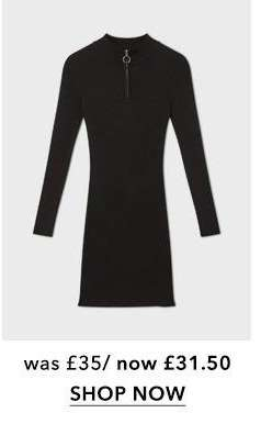 Black Zip Funnel Neck Knitted Dress