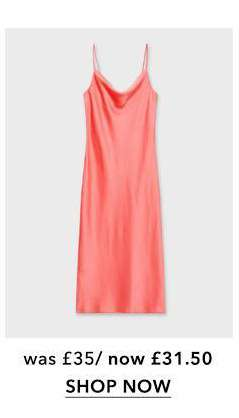Coral Cowl Neck Midi Slip Dress