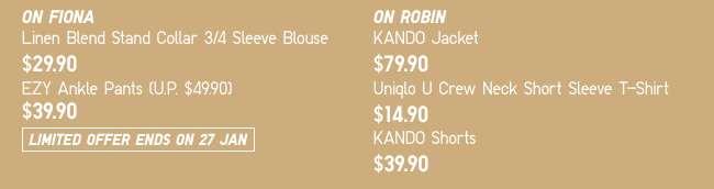 On Fiona: Linen Blend Stand Collar 3/4 Sleeve Blouse & EZY Ankle Pants | On Robin: KANDO Jacket, Uniqlo U Crew Neck Short Sleeve T-Shirt & KANDO Shorts
