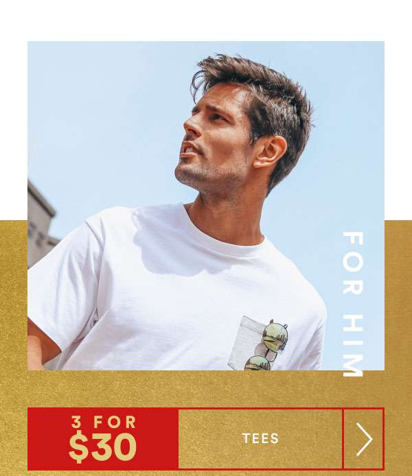 FOR HIM | 3 FOR $30 TEES | SHOP NOW