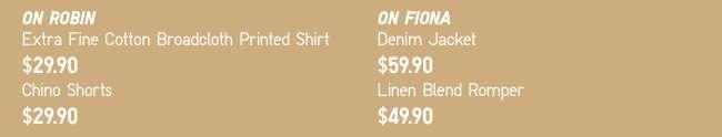 On Robin: EFC Broadcloth Printed Shirt & Chino Shorts | On Fiona: Denim Jacket & Linen Blended Romper