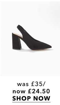 CARRIE Black Slingback Heeled Sandals