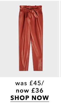 Brown PU Paperbag Trousers