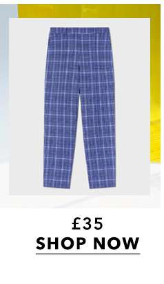 Blue Check Print High Waisted Cigarette Trousers