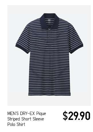 Men's DRY-EX Pique Striped Short Sleeve Polo Shirt