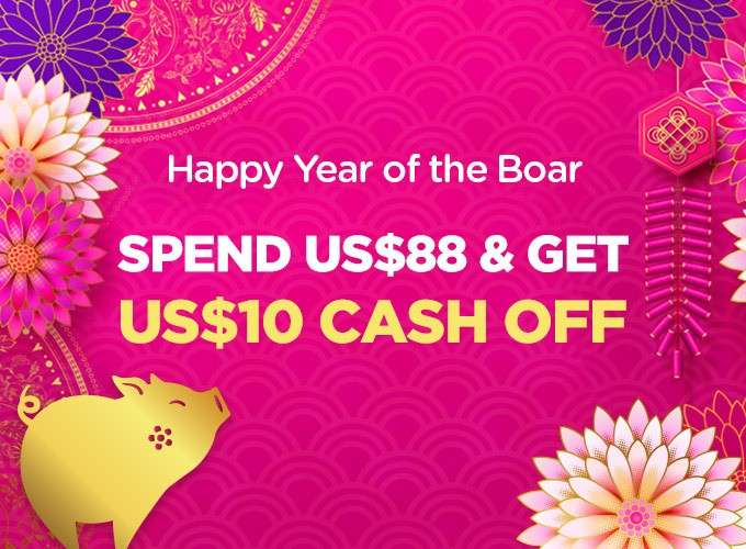 Happy Year of Boar! Spend US$88 Get US$10 Off Instantly!