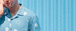 Men's Hawaii Mickey Blue Easy Care Open Collar Shirt at $29.90