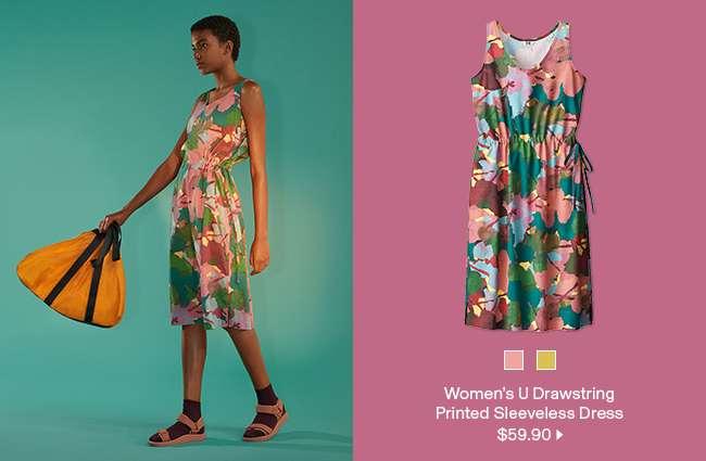 Women's U Drawstring Printed Sleeveless Dress at $59.90