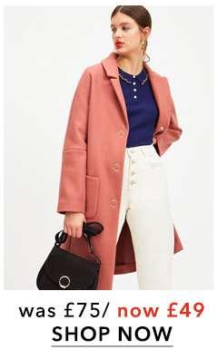 Pink Patch Pocket Midi Coat