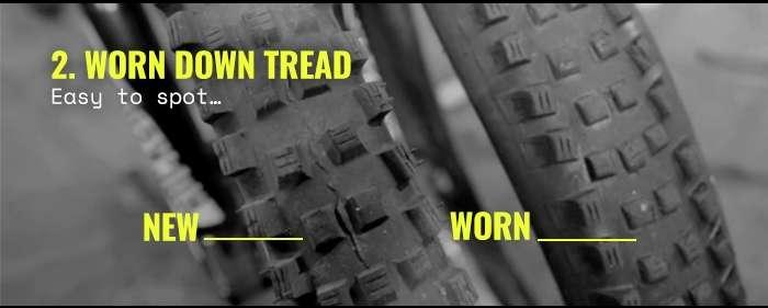 2. Worn down tread