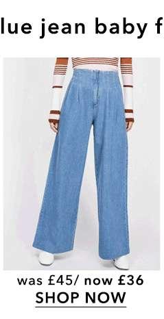 Blue Pleat Front Wide Leg Jeans