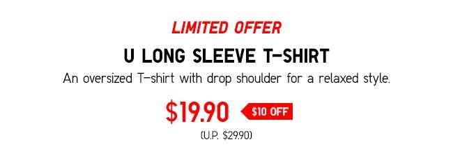 Limited offer: Men's U Crew Neck Long Sleeve T-shirt at $19.90