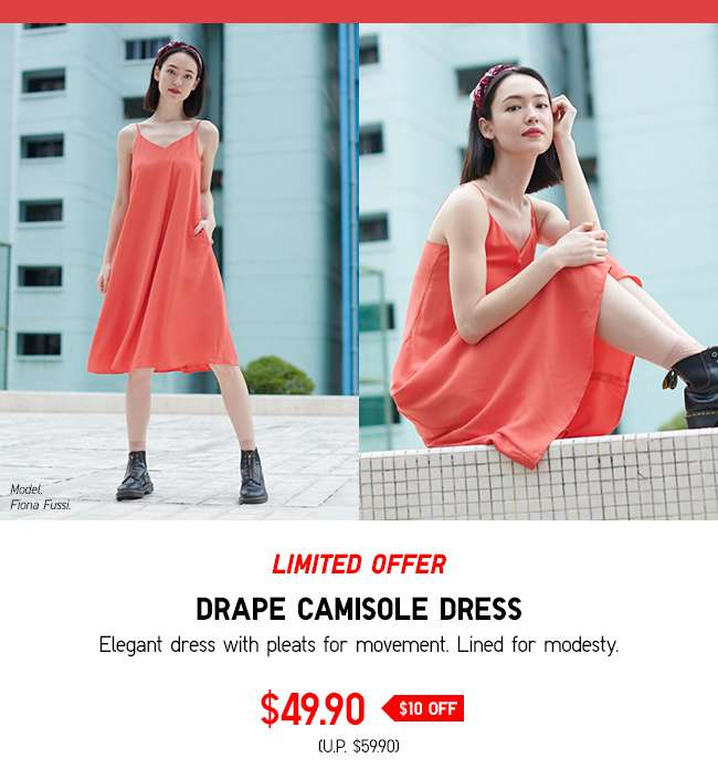 Limited offer: Women's Drape Camisole Dress at $49.90