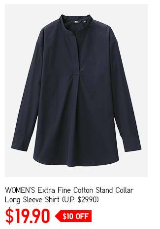 Limited offer: Women's Extra Fine Cotton Stand Collar Long Sleeve Shirt at $19.90