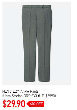 Limited offer: Men's EZY Ankle Pants (Ultra Stretch DRY-EX) at $29.90
