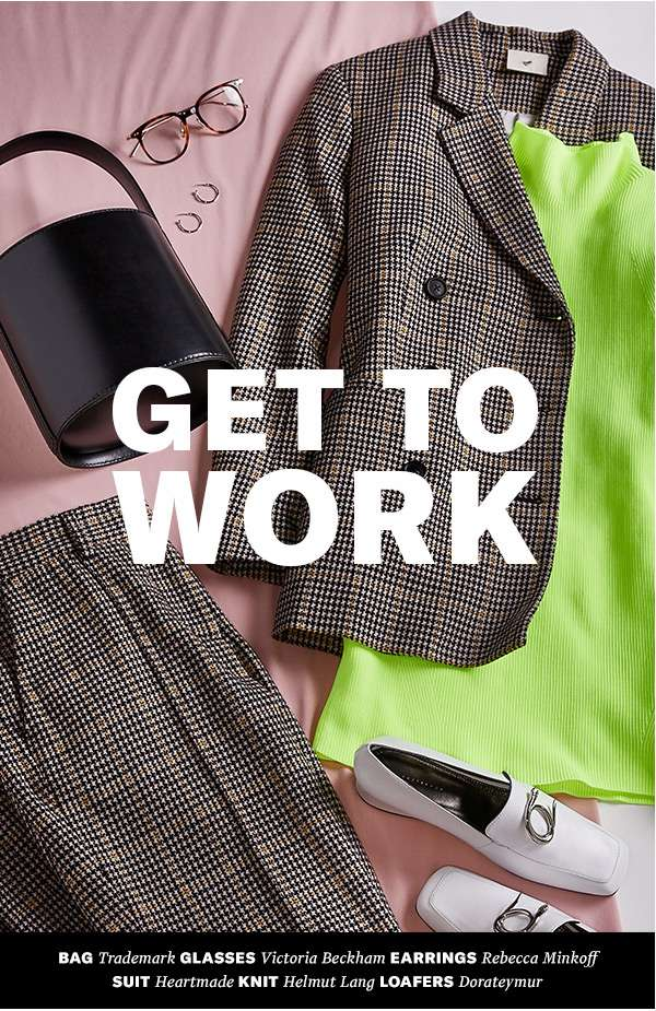 Plaid suiting, neon knits, ultra-modern accessories—proof that office attire can be playful and professional.