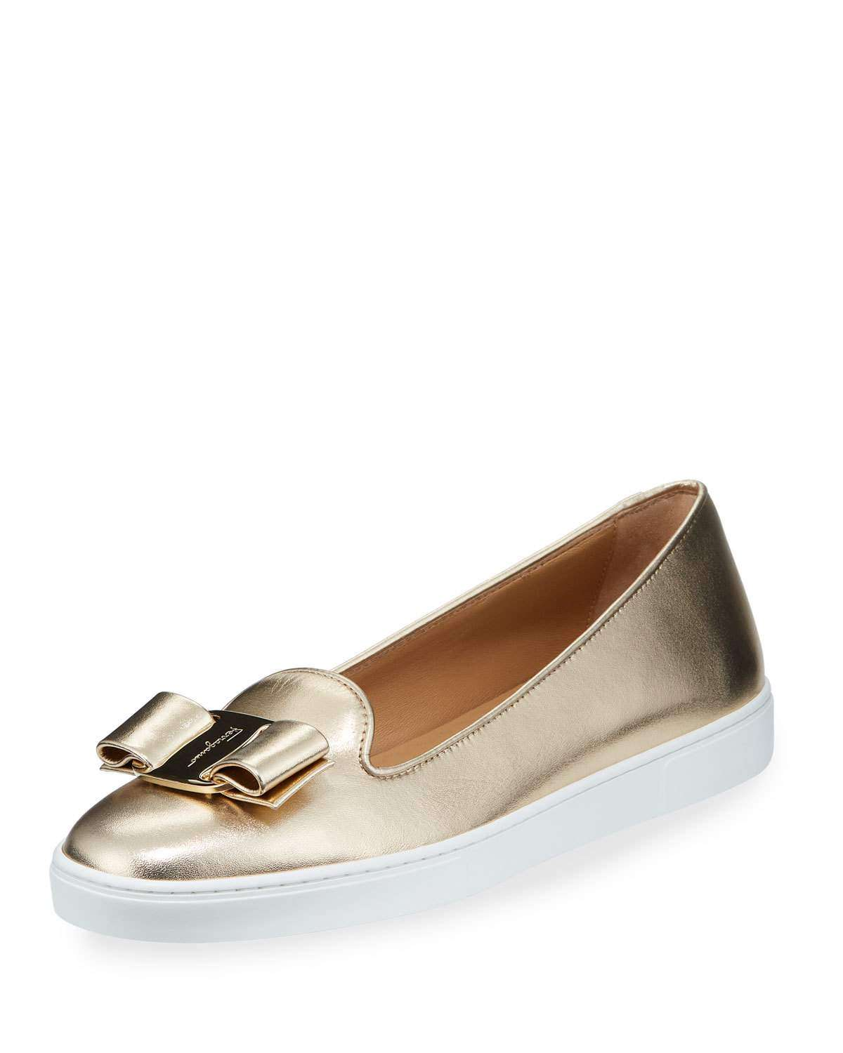 Novello Metallic Leather Bow Sneakers