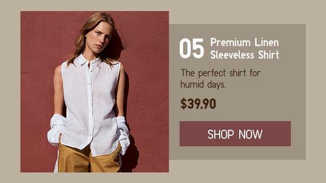 Shop Women's Premium Linen Sleeveless Shirt at $39.90