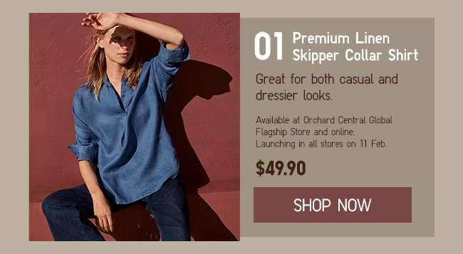 Shop Women's Premium Linen Skipper Collar Shirt at $49.90