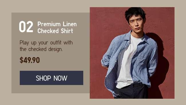 Shop Men's Premium Linen Checked Shirt at $49.90