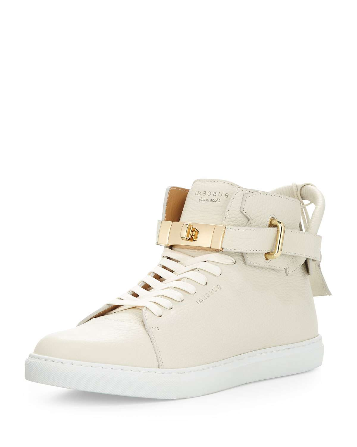 Men's Leather High-Top Sneakers w/ 18k Gold-Plated Hardware, Off White