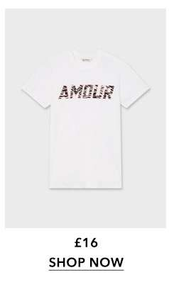 White Zebra Print 'Amour' Slogan T-Shirt