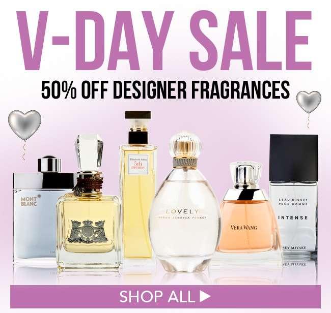 V-Day Sale. 50% Off Designer Fragrances. Shop All.