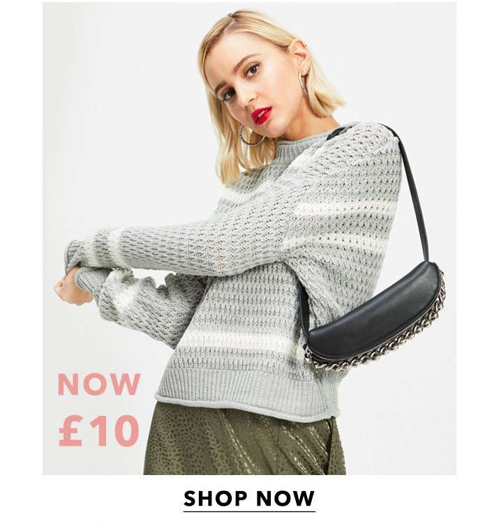 Grey Textured Stripe Knitted Jumper