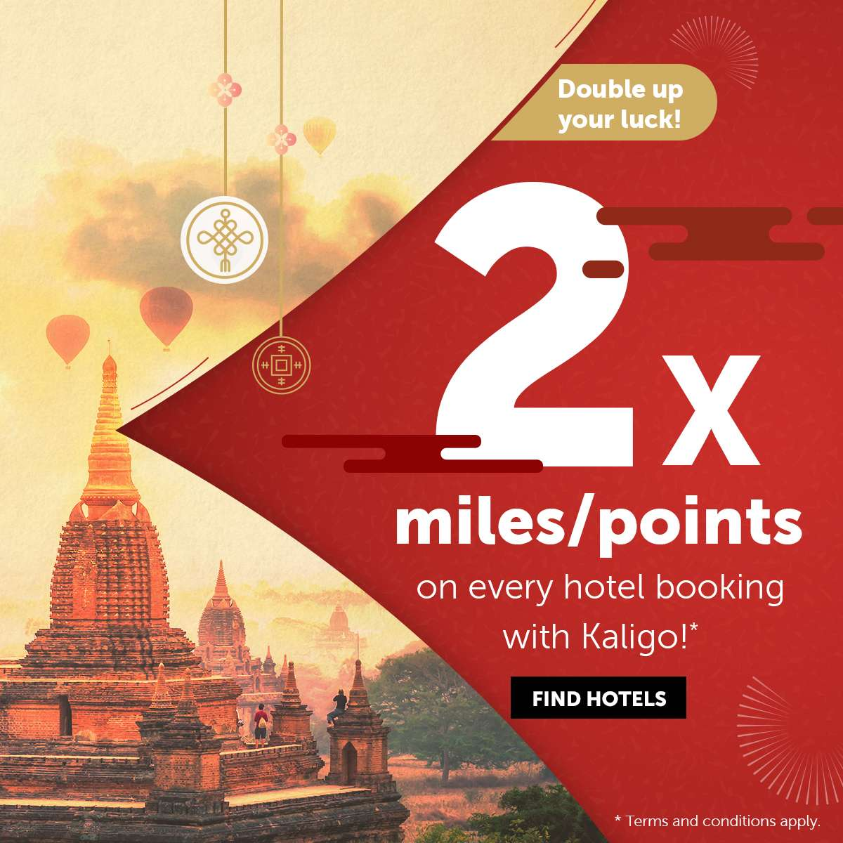 Earn double miles/points on every hotel booking with Kaligo