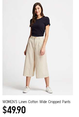 NEW: Women's Linen Cotton Wide Cropped Pants at $49.90