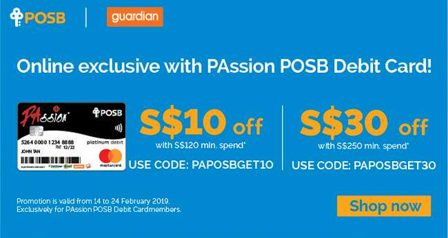 Get up to $30 off your online purchases with PAssion POSB Debit Card!