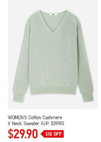 SALE: Women's Cotton Cashmere V Neck Sweater at $29.90