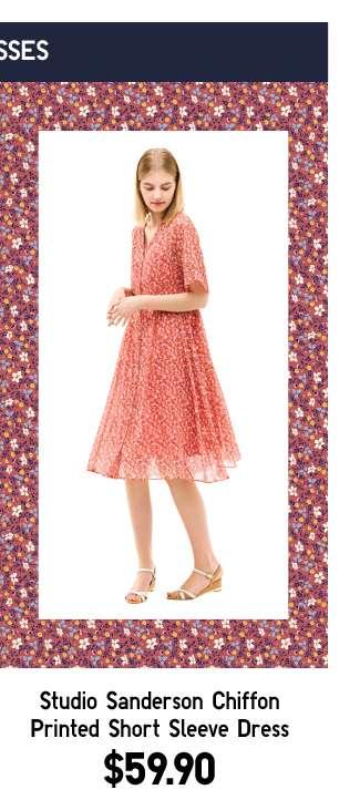 Shop Women's Studio Sanderson Chiffon Printed Short Sleeve Dress at $49.90