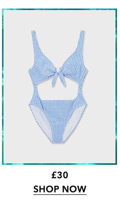 Pale Blue Gingham Swimsuit