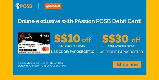 Up to $30 off online purchases with PAssion POSB Debit Card