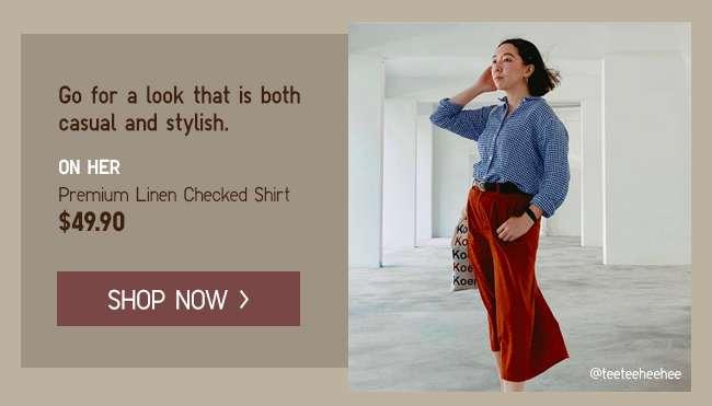 Shop Women's Premium Linen Checked Shirt at $49.90