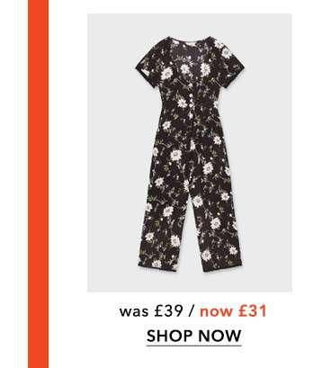 Black Clare Floral Print Jumpsuit