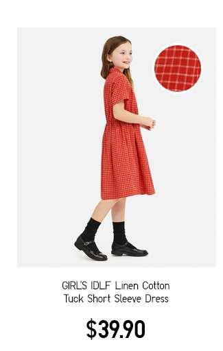 Girl's IDLF Linen Cotton Tuck Short Sleeve Dress C