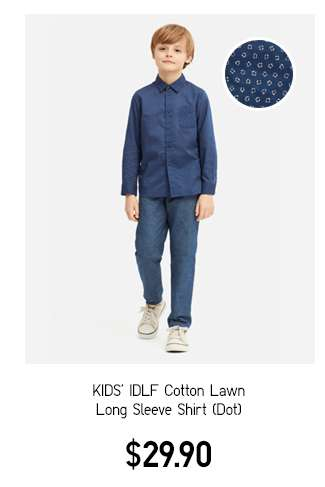 Kids' IDLF Cotton Lawn Long Sleeve Shirt Dot