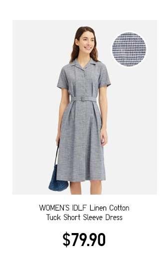 Women's IDLF Linen Cotton Tuck Short Sleeve Dress $79.90